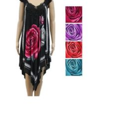 24 Units of Womens Fashion Summer Dress High Low With Rose In Assorted Color - Woman & Junior Girls