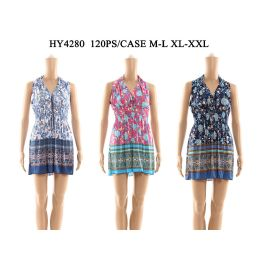 48 Units of Womens V Neck Tied Short Sun Dresses In Assorted Colors - Womens Sundresses & Fashion