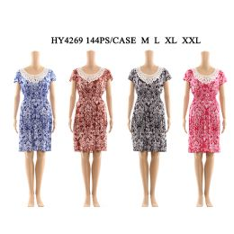 72 Units of Womens Fashion Short Sun Dress With Lace Neck - Womens Sundresses & Fashion