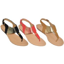 24 Units of Ladies Gold Strap Sandals