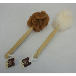 """72 Units of 14"""" Bath Pouf Sponge with Wooden Handle - Loofahs & Scrubbers"""
