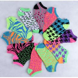 120 Units of Assorted Prints Women's Cotton Blend Ankle Socks - Womens Ankle Sock