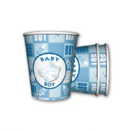 96 Units of 9oz/8 count paper cup boy - Baby Shower
