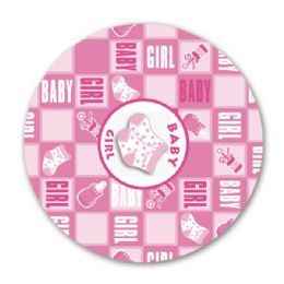 "96 Units of 9""/8 count paper plate girl - Baby Shower"