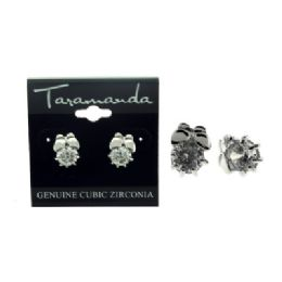 12 Units of Silver tone cubic zirconia stud earrings with a butterfly - Earrings