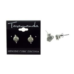 12 Units of Silver tone cubic zirconia stud earrings with a delicate metal design topping the stone - Earrings