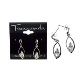 12 Units of Silver tone cubic zirconia dangle earrings with a pointed oval shaped stone within a larger pointed oval - Earrings