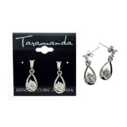 12 Units of Silver tone cubic zirconia dangle earrings with two stones, one attached to the post and the other within a water drop shaped charm - Earrings