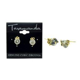 12 Units of Gold tone CUBIC ZIRCONIA stud earrings
