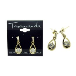 12 Units of Gold tone CUBIC ZIRCONIA dangle earrings