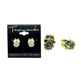 12 Units of Gold tone CUBIC ZIRCONIA stud earrings with a butterfly