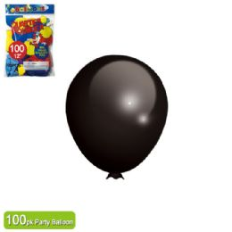 24 Units of Twelve Inch One Hundred Count Balloon Black - Balloons & Balloon Holder