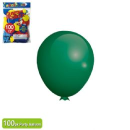 24 Units of Twelve Inch One Hundred Count Balloon Green - Balloons & Balloon Holder