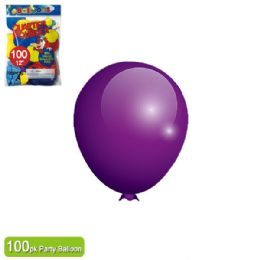 24 Units of Twelve Inch One Hundred Count Balloon Purple - Balloons & Balloon Holder