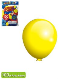 24 Units of Twelve Inch One Hundred Count Balloon Yellow - Balloons & Balloon Holder