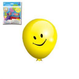 96 Units of Twelve Inch Ten Count Smile Face Balloon - Balloons & Balloon Holder