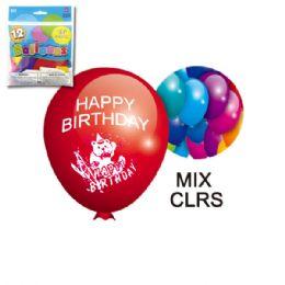 96 Units of Twelve Inch Ten Count Balloon Birthday - Balloons & Balloon Holder