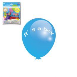 96 Units of Twelve Inch Ten Count Its A Boy Balloon - Balloons & Balloon Holder