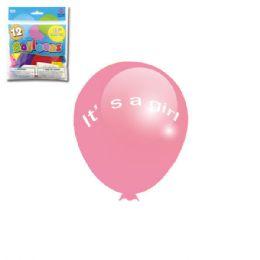 96 Units of Twelve Inch Ten Count Its A Girl Balloon - Balloons & Balloon Holder