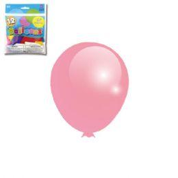 96 Units of Twelve Inch Twelve Count Baby Pink Latax Balloon - Balloons & Balloon Holder