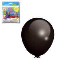 96 Units of Twelve Inch Twelve Count Black Latax Balloon - Balloons & Balloon Holder