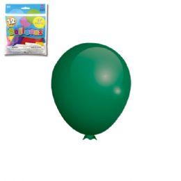 96 Units of Twelve Inch Twelve Count Green Latax Balloon - Balloons & Balloon Holder