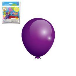 96 Units of Twelve Inch Twelve Count Purple Latax Balloon - Balloons & Balloon Holder