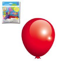 96 Units of Twelve Inch Twelve Count Red Balloon - Balloons & Balloon Holder