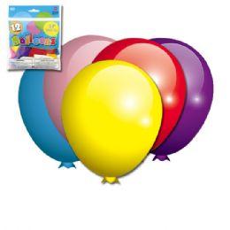 96 Units of Twelve Inch Twelve Count Mixed Colors Latax Balloon - Balloons & Balloon Holder