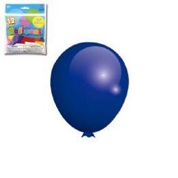 96 Units of Twelve Inch Twelve Count Royal Blue Latax Balloon - Balloons & Balloon Holder
