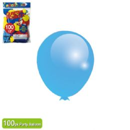 24 Units of Twelve Inch One Hundred Count Balloon Baby Blue - Balloons & Balloon Holder