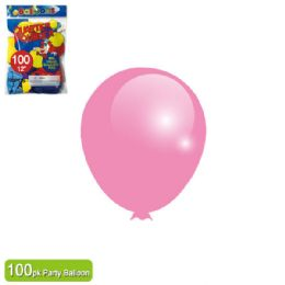 24 Units of Twelve Inch One Hundred Count Balloon Baby Pink - Balloons & Balloon Holder