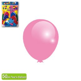 36 Units of Pearly Balloon Baby Pink Twelve Inch Fifty Count - Balloons & Balloon Holder