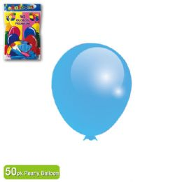 36 Units of Pearly Balloon Baby Blue Twelve Inch Fifty Count - Balloons & Balloon Holder