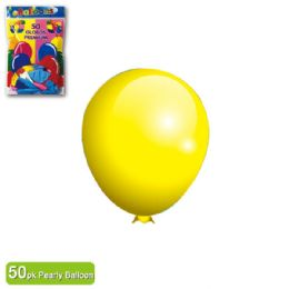 24 Units of Pearly Balloon Yellow Twelve Inch Fifty Count - Balloons & Balloon Holder