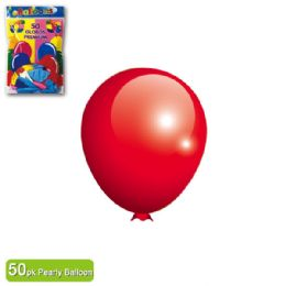 48 Units of Pearly Balloon Red Twelve Inch Fifty Count - Balloons & Balloon Holder