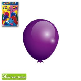 36 Units of Pearly Balloon Purple Twelve Inch Fifty Count - Balloons & Balloon Holder