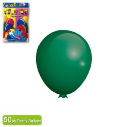 36 Units of Pearly Balloon Green Twelve Inch Fifty Count - Balloons & Balloon Holder