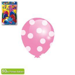 36 Units of Polka Dot Balloon Baby Pink - Balloons & Balloon Holder