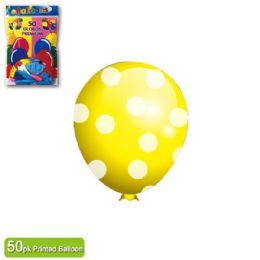 36 Units of Polka Dot Balloon Yellow - Balloons & Balloon Holder
