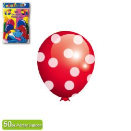 48 Units of Dotted Balloon Red Twelve Inch Fifty Count - Balloons & Balloon Holder