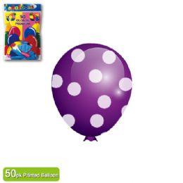 36 Units of Polka Dot Balloon Purple - Balloons & Balloon Holder