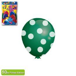 36 Units of Polka Dot Balloon Green - Balloons & Balloon Holder
