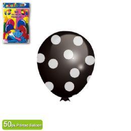 36 Units of Polka Dot Balloon Black - Balloons & Balloon Holder