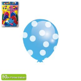 36 Units of Polka Dot Balloon Baby Blue - Balloons & Balloon Holder