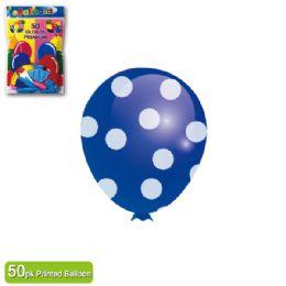 36 Units of Polka Dot Balloon Royal Blue - Balloons & Balloon Holder
