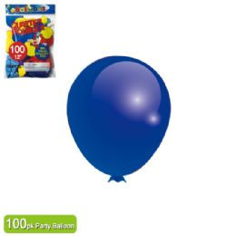 24 Units of Twelve Inch One Hundred Count Balloon Royal Blue - Balloons & Balloon Holder
