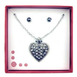 36 Units of Gun Metal Finish Heart And Earring Gift Box - Jewelry & Accessories