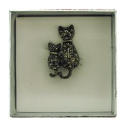 36 Units of Side By Side Cats Pin With Gift Box - Jewelry & Accessories