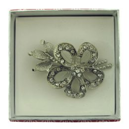 36 Units of Flower With A Leaf And Branch Pin With Gift Box - Jewelry & Accessories